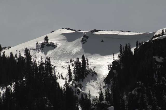 Cornices are overhangs of snow. This one is on the east side of Berthoud Pass, looking south.
